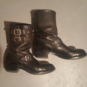 Black Leather Motorcycle Boots size 9.5 Vintage